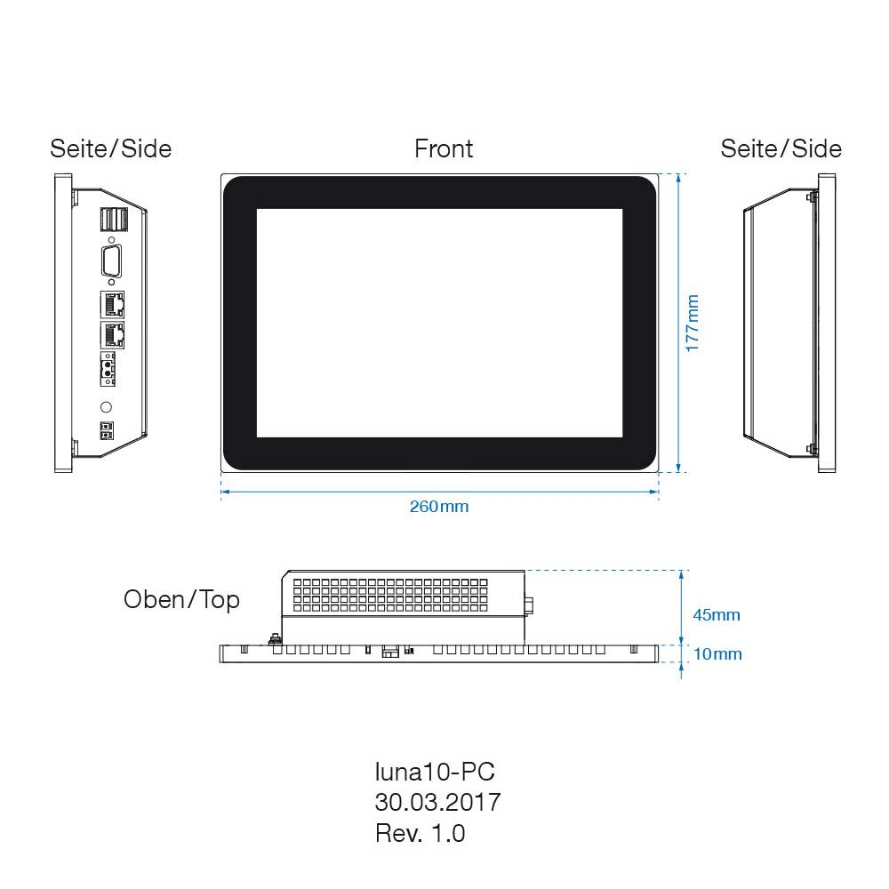 10 Zoll Touchpanel luna